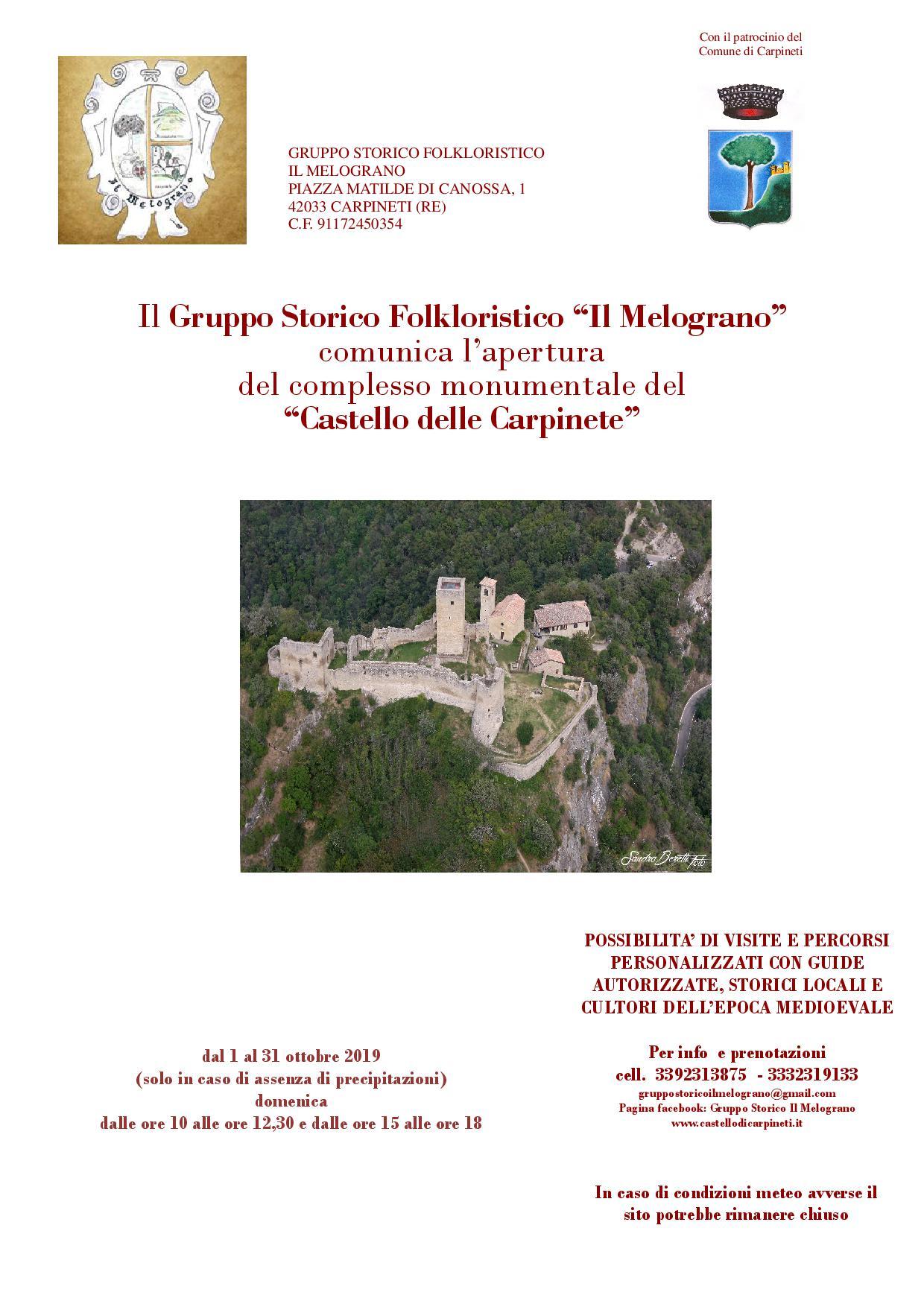 orari apertura castello ottobre
