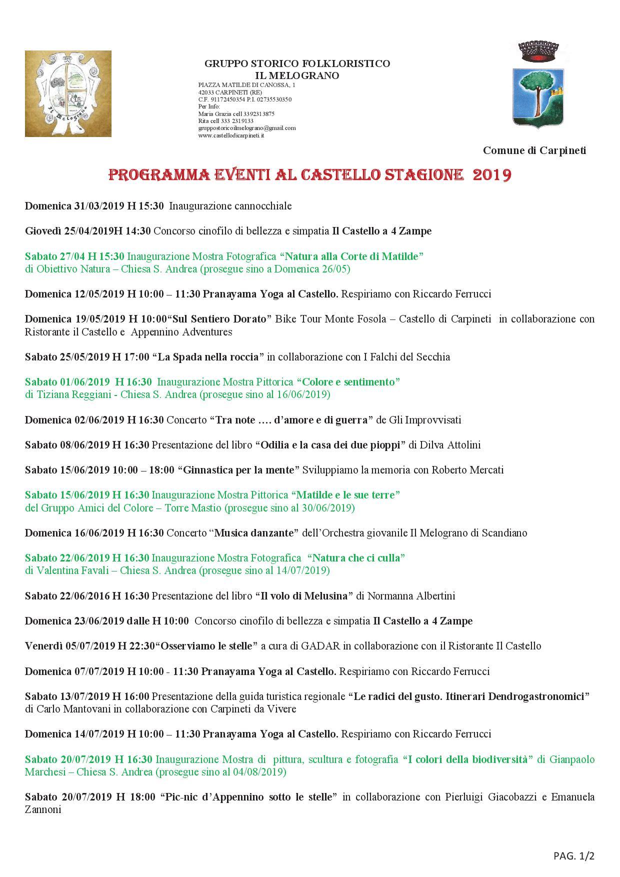 programma eventi 2019